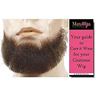 5 Point Discount Goatee Color LT GREY - Lacey Wigs Beard Synthetic Lace Backed Hand Made Fake Facial Bundle with MaxWigs Costume Wig Care Guide