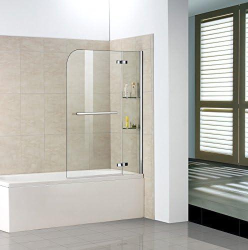 90 x 140 cm Mampara de ducha pared – Mampara para bañera plegable ...