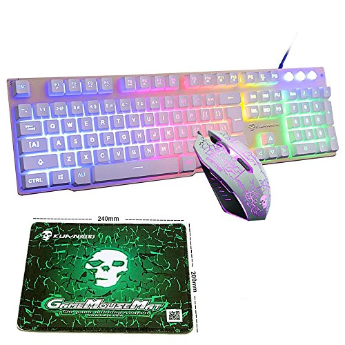 LexonElec Wired Keyboard Mouse Combo Gamer T6 Rainbow LED Backlit Multimedia Ergonomic Usb Pro Gaming Keypad and 2400 DPI 6 Buttons Optical Mouse Sets with Mice Pad (White & Mixed Light)