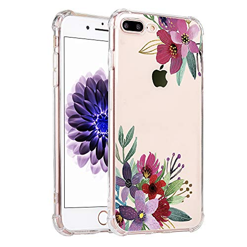 4 Childrens Corner Pattern - KIMICO Floral Case for iPhone 7 plus, iPhone 8 plus case Clear Cute Flower Design for Girls, [Four Corners Thicken Shockproof] [Slim Fit]Transparent Tropical Pattern Soft Protective Cover(LeFloral 8+)