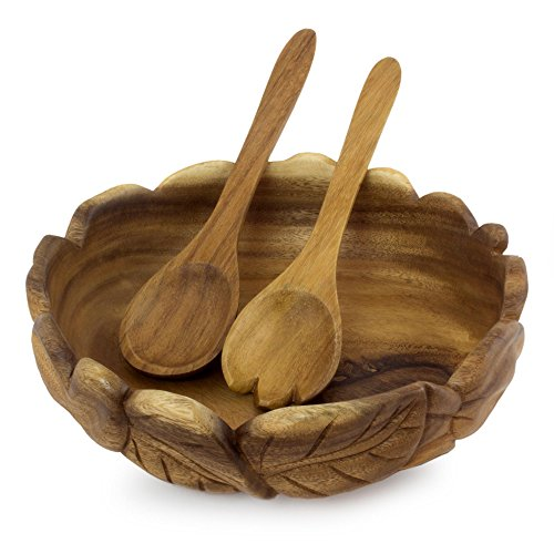NOVICA 246752 Forest Foliage' Wood Salad Bowl and Serving ()