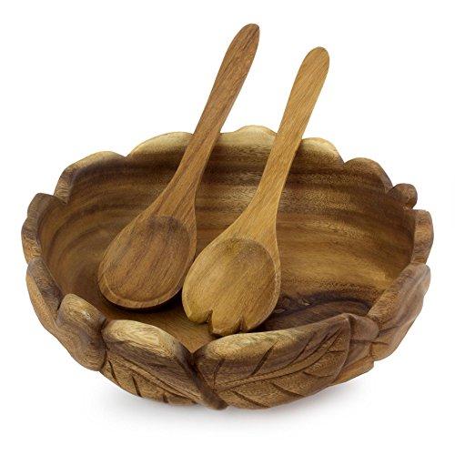 NOVICA 246752 Forest Foliage' Wood Salad Bowl and Serving Set