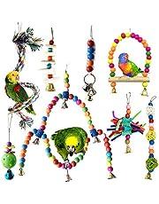 Juguetes para Pájaros, PietyPet 8 Piezas Grandes Columpios Pájaros Juguetes con Campanas, Perchas, Hamaca de Madera, Que cuelga la Perca Juguete para pequeños y medianos loros de aves