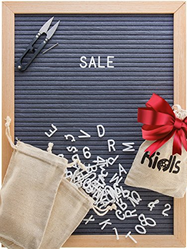 Premium Felt Letter Board - 12x16 Wood Frame with 725 Changeable Letters, Numbers, and Symbols – Message Board Sign – Home, Office, and Wall Décor and Educational Toy + FREE Scissors by KidIs (Free Bulletin Board Letters)