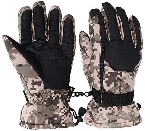 Livingston Mens Waterproof Thinsulate Lining Winter Ski Gloves, Camo Khaki, M