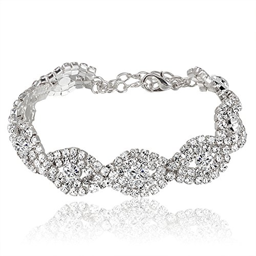Miraculous Garden Silver Plated Clear Crystal Rhinestone Wedding Link Tennis Bracelet (Silver Plated White crystal) (Garden Wedding)