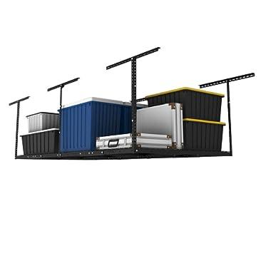 FLEXIMOUNTS 2-Piece Overhead Garage Storage Rack Set Adjustable Ceiling Storage Racks, 96  Length x 48  Width x 40  Height, 2 pcs, Black