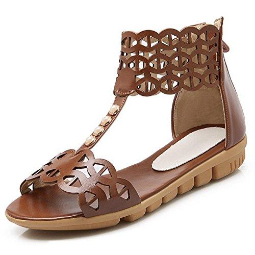 COOLCEPT Mujer Moda T-Strap Sandalias Punta Abierta Planos Zapatos With Cremallera Marron