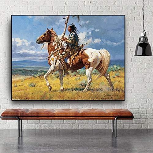 WCLGDJ Native Indian Horse Figure Abstrakte /Ölgem/älde auf Leinwand Cuadros Poster und Drucke Wandkunst Bild f/ür Wohnzimmer 50x70cm Rahmenlos