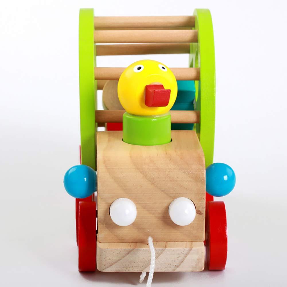Multi-Color Danigrefinb Baby Toys Cute Wooden Duckling Pull Along Cart Wheels Block Building Educational Kids Toy