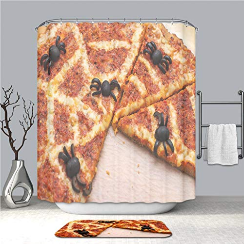 BEICICI Creative Shower Curtain and Bath mat Rug Ideas for Halloween Pizza with Olives Spiders Custom Stylish,Waterproof,Mildew Proof Bathroom Set ()