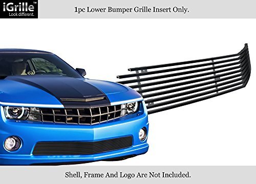 (APS Compatible with 2010-2013 Chevy Camaro SS V8 Bumper Black Stainless Steel Billet Grille C66742J)