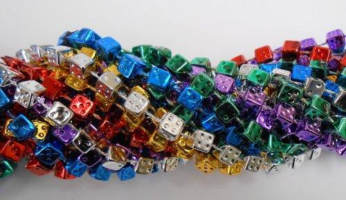 33 inch 7mm Dice Metallic 6 Color Mardi Gras Beads - 6 Dozen (72 necklaces) (Dice Metallic)