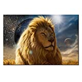 lion pics - DVQ ART- Framed Lion with Galaxy Abstract Painting Print on Canvas Lion Pics Wall Art Picture for Home Decor Ready to Hang 1 PCS (16x24inch(40x60cm), Blue)