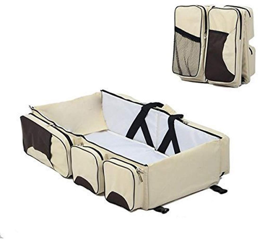 GTC Portable Multifunctional Baby Travel Bed Cot/Bassinet and Folding Mummy Diaper Bag (AA) (Cream)