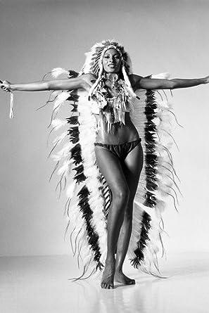 Pam Grier Barefoot Bikini American Indian Headdress Sexy