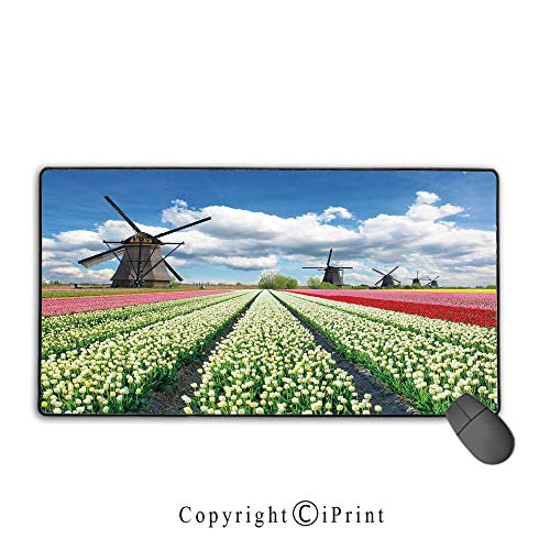 Gaming Mouse pad,Windmill Decor,Vibrant Blooming Meadow Farmland Scenic Cloudy Sky The Netherlands Heritage Decorative,Multicolor,Suitable for laptops, Computers, PCs, Keyboards, Mouse pad with Lock,
