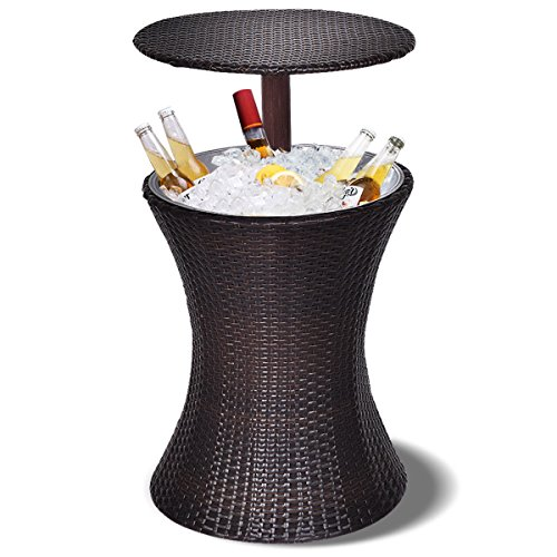 GJH One Table Party Rattan Ice Cooler Cool Bar Adjustable Outdoor Patio Deck Pool -