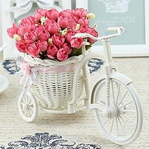 7 kinds style rattan vase + flowers meters spring scenery rose artificial 18