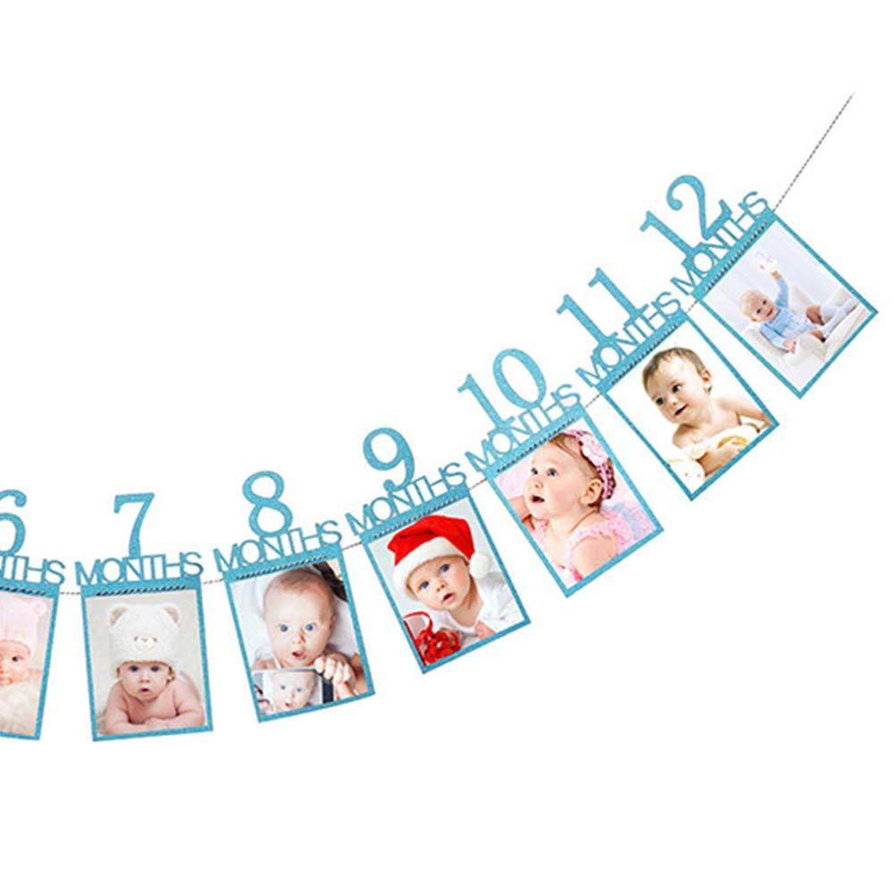 ReFaXi 1 Bandera De Cumplea/ños De Primer Aniversario Mensual De Un A/ño De Edad Guirnalda De Beb/é Baby Shower Ni/ñO Ni/ñA De 1 Fiesta Decoraciones De Los Ni/ños Azul