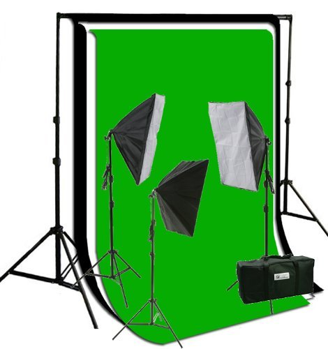 ePhoto Photograpy 3 Softbox Continuous Lighting Kit 3pcs 6 x 9 ft Muslins, Background Support Stand Kit Case HS360BWG by ePhotoinc