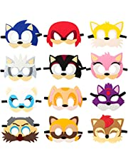 12Pcs Sonic Felt Masks Themed Party Supplies Birthday Dress Up Costumes Mask Photo Booth Prop Cartoon Character Cosplay