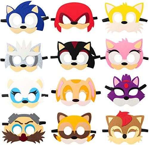 12Pcs Felt Masks for Sonic Themed Party Supplies Birthday Hedgehog Party Favors Dress Up Costumes Mask Photo Booth Prop Cartoon Character Cosplay Pretend Play Accessories Gift for Kids Boys Girls