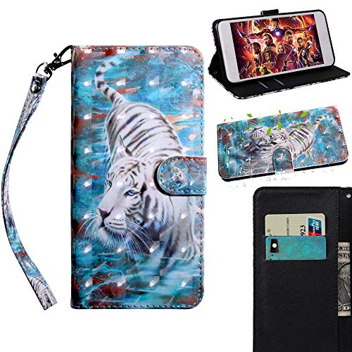 XYX Wallet Phone Case for Samsung J3 V/Samsung J3 2016,[Wrist Strap] Painted Design Pu Leather Folding Flip Cover Protective Case - White Tiger