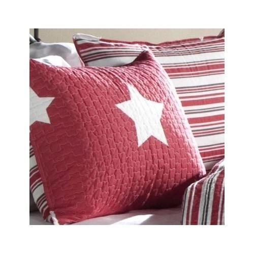 Full/queen Teen Girls Kids Reversible Red White Stars and Stripes Quilt Bedding Set with Shams Includes Scented Candle Tarts by L Decor (Image #1)'