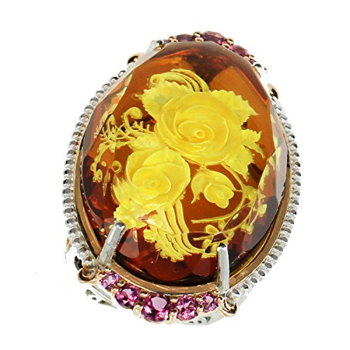 Michael Valitutti Palladium Silver Oval Carved Amber Flower & Rhodolite Elongated Ring by Michael Valitutti
