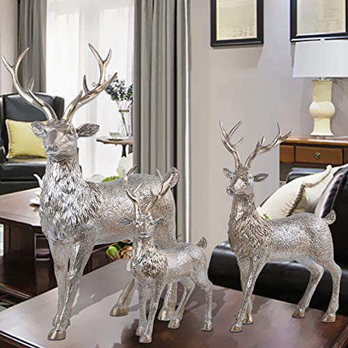 XiYunHan European Decoration Deer Suit Resin Crafts Creative Home Living Room Entrance TV Cabinet Bedroom Room Personality Bracket Newly Married Gift Desktop Arrangement Stand Three-Piece Set (Stand Creative)