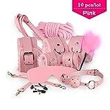 Embiofuels(TM) 10 pcs/lot S e xy Products Set S e x Bondage Kit A d u l t Games Toys Set Hand Cuffs Footcuff W h i p Rope Blindfold Mask Mouth Gag Couples(Pink)