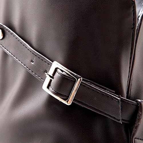 Amoonyfashion Donna Tacco Basso Morbido Materiale High-top Solido Pull-on Stivali Marrone