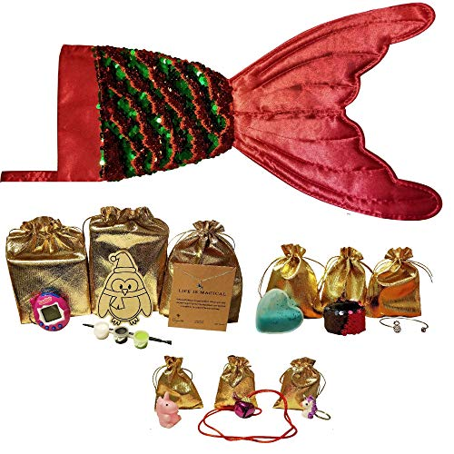 Dee n Dee Stocking Stuffer Bundle Surprise -10 Total Items -Pre-Filled Mermaid Sequin Stocking with Hot 2018 Gifts for Girls -Unicorn Necklace -Pineapple Bracelet -Slime and More! ()