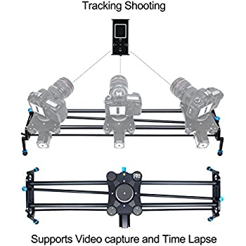 "A&J 31"" Carbon fiber Motorized  Camera Slider  Video Track Dolly DSLR Stabilizer with Time Lapse Automatic Track and Wide Angle Shot"
