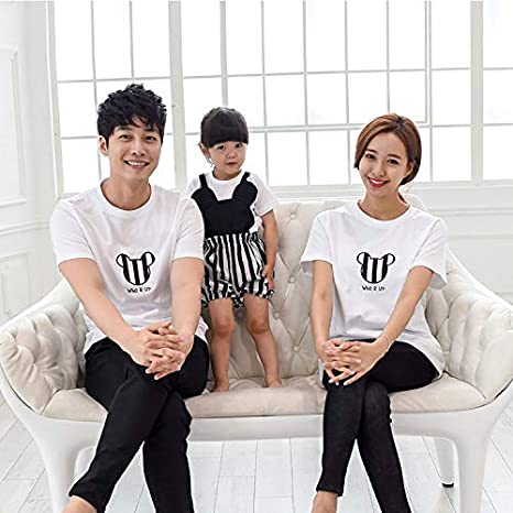 34e03252 Family Style Tops Cotton T Shirt Clothing Mother Daughter Father Son T  Shirt Clothes Family Matching Outfit Summer Clothing TM28 : White, Dad M:  Amazon.in: ...