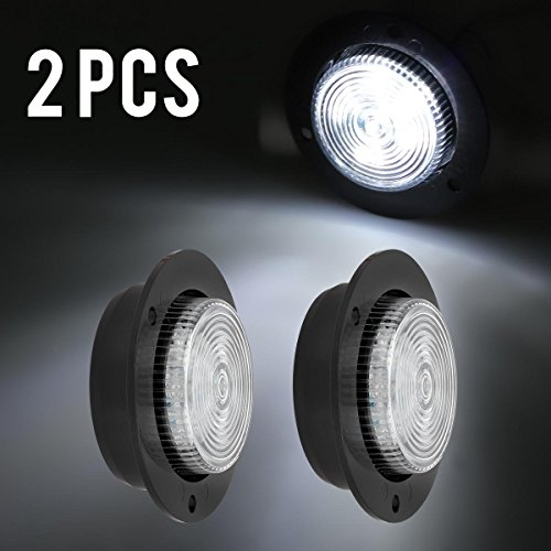 Partsam LED 2 Inch White Flange Mount Led Marker Lights Truck Trailer 6Diode Panel Light, White Led 2
