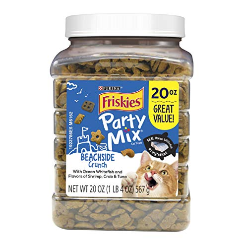 Purina Friskies Made in USA Facilities Cat Treats; Party Mix Beachside Crunch - 20 oz. Canister]()