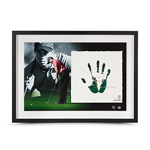 (TIGER WOODS Autographed & Inscribed Green & Black Tegata Lithograph UDA LE 50 )