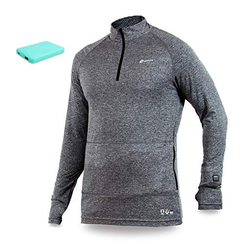 Venture Heat Men's Heated Long John Thermal Underwear with Battery 6 Hour - Nomad 1/4 Zip Heated Shirt, Baselayer (L, Charcoal)