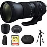 Tamron SP 150-600mm F/5-6.3 Di VC USD G2 Zoom Lens for Nikon Mounts (AFA022N-700) with Sandisk 64GB Memory Card, TAP-In Console Lens Accessory for Nikon Lens & Xit 60 Full Size Photo/Video Tripod