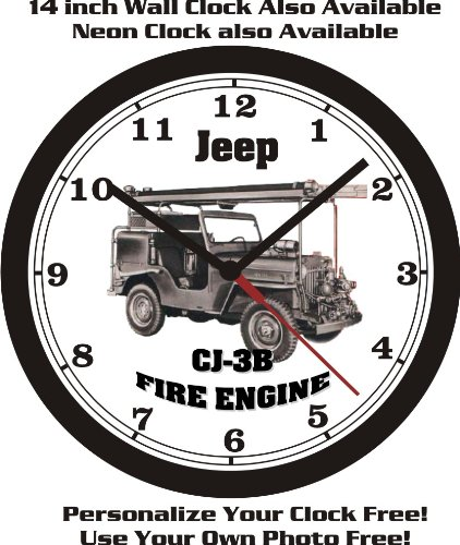 (JEEP CJ-3B FIRE ENGINE WALL CLOCK-FREE USA SHIP!)