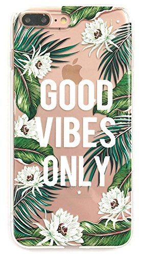 Iphone 7 Plus Case, Iphone 8 Plus Case, Summer Fashion Soft Slim TPU Tropical Leaf Palm Flower Good Vibes Quote Phone Cover for Iphone 7 Plus & Iphone 8 Plus (Summer Case)