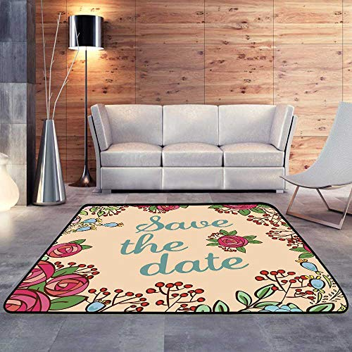 Outdoor Rugs,Invitation or Wedding Card with Floral W