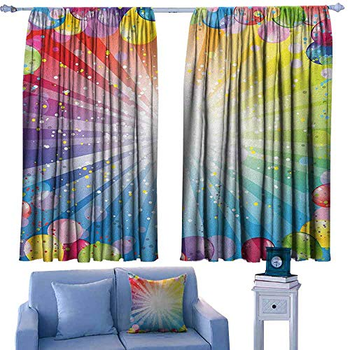 Price comparison product image ParadiseDecor Birthday Boys Bedroom Backout Curtains Festive Striped Backdrop with Balloons Dots Confetti Rain Celebration Birthday, Printed Kids Nursery Curtain, W55 x L45 Inch