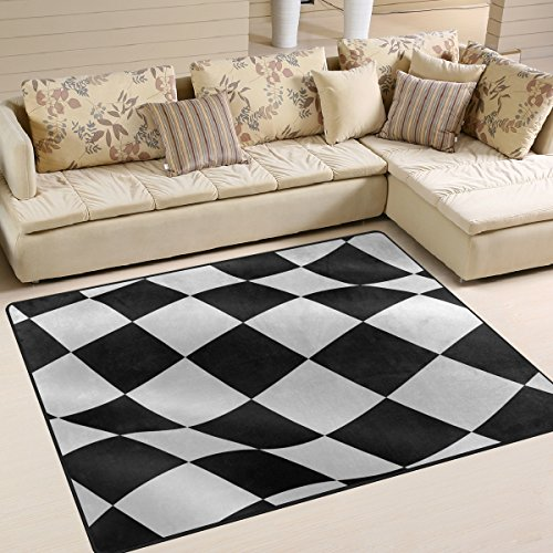 LORVIES Checkered Flag Area Rug Carpet Non-Slip Floor Mat Doormats for Living Room Bedroom 80 x 58 inches