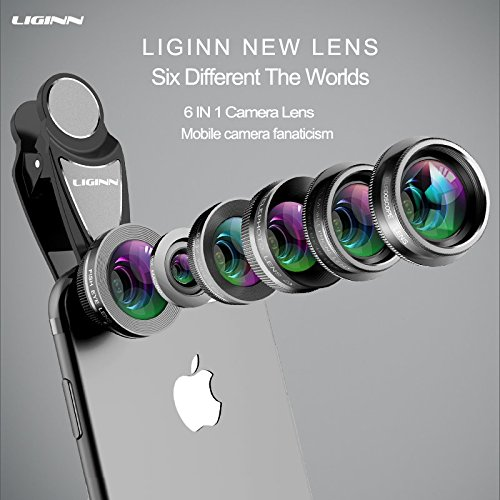 Cell Phone Camera Lens 6 in 1 Kit, Black, 198°Fisheye Lens, 2X Telephoto Zoom Lens, Kleidoscope Lens, CPL Mobile Phone Lens,0.63X Wide Angle Lens & 15X Macro Lens (Screwed Together)