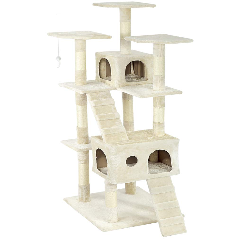 Beige 73'' Cat Tree Scratcher Play House Condo Furniture Bed Post Pet House