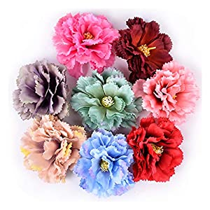 Memoirs- 5Pcs Artificial Flower 9cm Silk Carnation for Wedding Home Decoration DIY Craft Fake Flower Wreath Gift Scrapbooking Accessories 99