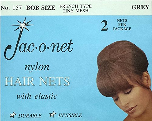 Jac-O-Net French Type, Tiny Mesh Hair Net--Bob/Small Size, Grey,2 Net Per Pack [Pack of 12]